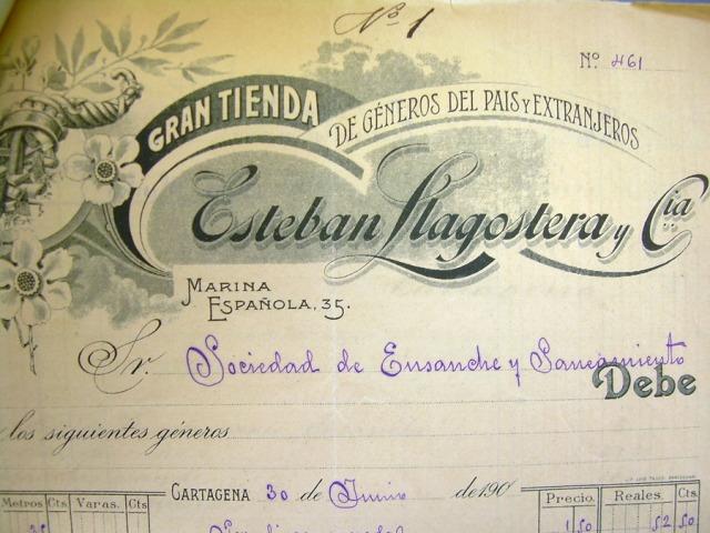 Membrete del comercio de tejidos de Esteban Llagostera. En una guía de Cartagena, de 1902, aparecen como donantes de una alfombra de terciopelo de 12 metros para el presbiterio de la Iglesia de la Caridad. (Foto: Juan Ignacio Ferrández)